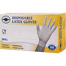 Γάντια ΘΑΛΑΣΣΙΝΟΣ μίας χρήσης latex, small (100τεμ.)