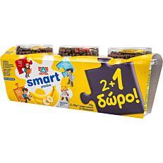 Επιδόρπιο γιαουρτιού ΔΕΛΤΑ smart με γεύση μπανάνα 2+1 ΔΩΡΟ (3x145g)