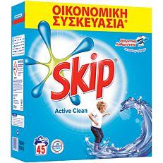 Απορρυπαντικό SKIP active clean πλυντηρίου ρούχων, σε σκόνη (45μεζ.)