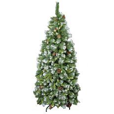 Χριστουγεννιάτικο δέντρο χιονισμένο με κουκουνάρια 1,80m