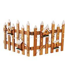 Ξύλινος φράχτης με φως καφέ και λευκό 100x40cm