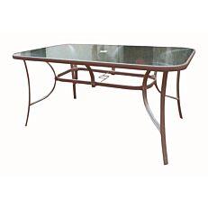 Τραπέζι μεταλλικό καφέ, με γυαλί 150x90cm