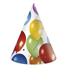Καπέλα χάρτινα με σχέδιο μπαλόνια (6τεμ.)