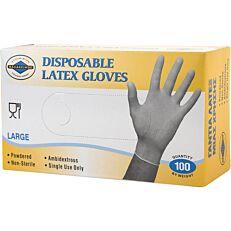 Γάντια ΘΑΛΑΣΣΙΝΟΣ μίας χρήσης latex, large (100τεμ.)