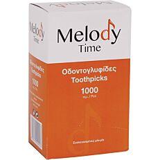 Οδοντογλυφίδες MELODY TIME με δυο μύτες συσκευασμένες 1/1, σε κουτί (1000τεμ.)
