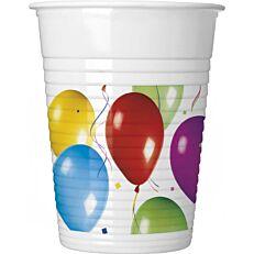 Ποτήρια PP με σχέδιο μπαλόνια 200ml (8τεμ.)