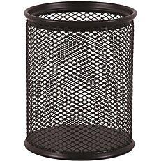 Μολυβοθήκη στρογγυλή με μεταλλικό δίχτυ, μαύρη 8x10cm