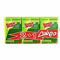 Σφουγγάρι SCOTCH-BRITE κουζίνας πράσινο 2+1 ΔΩΡΟ (3τεμ.)