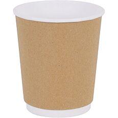 Ποτήρια χάρτινα διπλότοιχα κραφτ 8oz (25τεμ.)