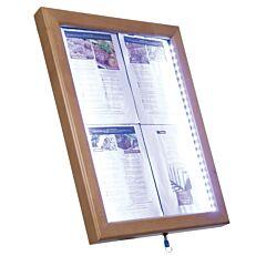 Κορνίζα πληροφοριών SECURIT LED με ξύλινη κορνίζα, 4xA4