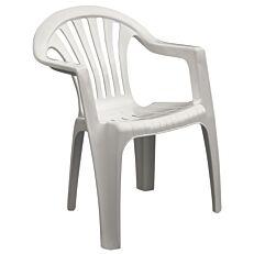 Καρέκλα πλαστική με μπράτσα λευκή