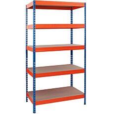 Ραφιέρα μεταλλική με 5 ράφια, 176x90x45 μέγιστη αντοχή βάρους ανά ράφι 200kg, μπλε-πορτοκαλί