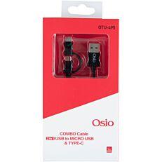 Καλώδιο OSIO micro-usb type-c 1m black