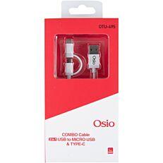 Καλώδιο OSIO micro-usb type-c 1m white