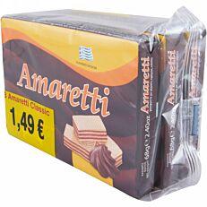 Γκοφρέτα AMARETTI classic με κρέμα κακάο (3x68g)