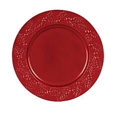 Πλαστικά πιάτα χριστουγεννιάτικα με γκυ κόκκινα 33x33x1,7cm