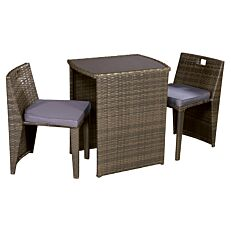 Σετ Veranda rattan 1 τραπέζι και 2 καρέκλες με μαξιλάρια