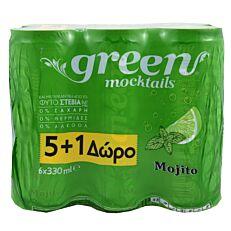 Έτοιμο κοκτέιλ GREEN MOCKTAILS mojito 5+1 ΔΩΡΟ (6x330ml)