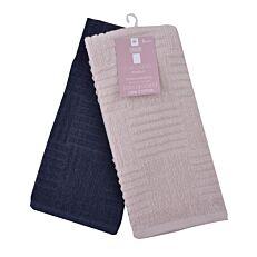 Πετσέτες κουζίνας καρό ροζ-μπλε σετ 2 τεμάχια (30x30cm)
