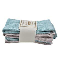 Πετσέτες κουζίνας μέντα-γκρι σετ 4 τεμάχια (30x30cm)