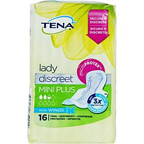 Σερβιέτες TENA Lady Mini Plus Discreet με φτερά (16τεμ.)