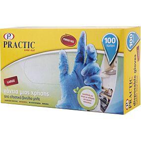 Γάντια PRACTIC μίας χρήσης βινυλίου μπλε, large (100τεμ.)