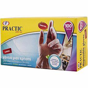 Γάντια PRACTIC μίας χρήσης βινυλίου, large (100τεμ.)
