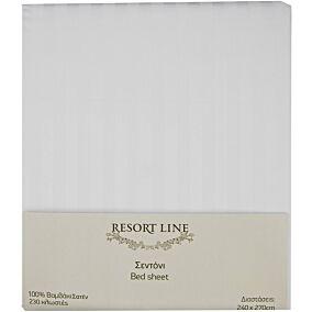 Σεντόνι RESORT LINE βαμβακερό σατέν λευκό 240x270cm