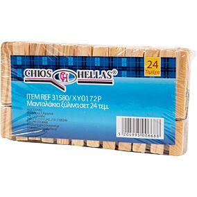 Μανταλάκια ξύλινα 7,2cm (24τεμ.)