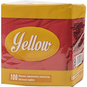 Χαρτοπετσέτες YELLOW κόκκινες 38x38cm (100τεμ.)