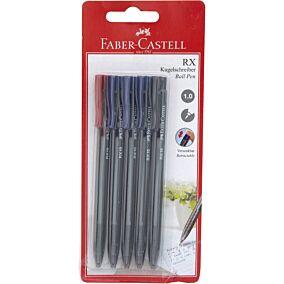 Στυλό διαρκείας FABER-CASTELL RX10 μπλε - μαύρα - κόκκινα (5τεμ.)