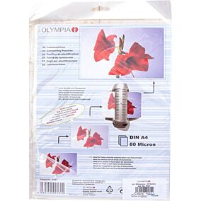 Φύλλα πλαστικοποίησης OLYMPIA A4,80 mic,25 φύλλα