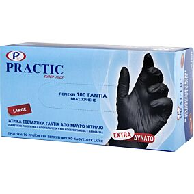 Γάντια PRACTIC μίας χρήσης νιτριλίου, large (100τεμ.)