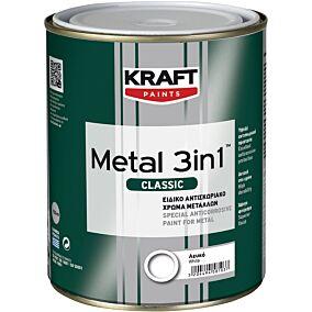 Χρώμα KRAFT αντισκωριακό μετάλλων 3 σε 1 λείο γυαλιστερό λευκό (750ml)