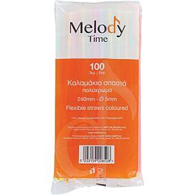 Καλαμάκια MELODY TIME σπαστά πολύχρωμα 240x5mm (100τεμ.)