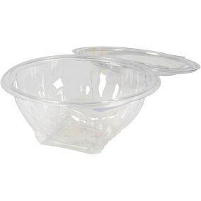 Σκεύη FROGO Pet διαφανή στρογγυλά με ενσωματωμένα καπάκια 1000ml (100τεμ.)