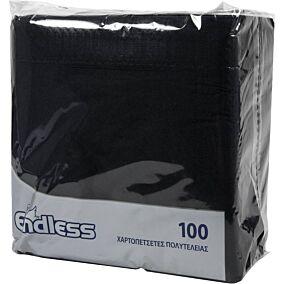 Χαρτοπετσέτες ENDLESS μαύρες 38x38cm 100φύλλα