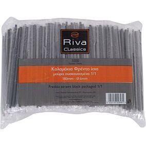 Καλαμάκια RIVA CLASSICS ίσια, μαύρα, συσκευασμένα 1/1 180x4mm (1000τεμ.)