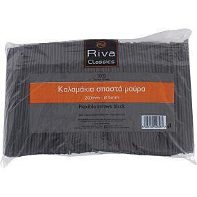 Καλαμάκια RIVA CLASSICS σπαστά, μαύρα 240x5mm (1000τεμ.)