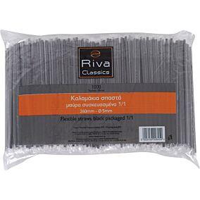 Καλαμάκια RIVA CLASSICS σπαστά, μαύρα, συσκευασμένα 1/1 240x5mm (1000τεμ.)