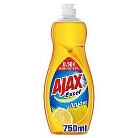 Απορρυπαντικό πιάτων AJAX Excel λεμόνι, υγρό -0,50€ (750ml)