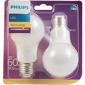 Λάμπα PHILIPS LED 8W A60 E27 (2τεμ.)