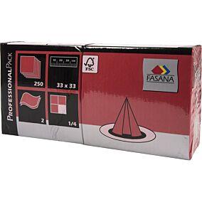 Χαρτοπετσέτες FASANA κόκκινες 33x33cm (250τεμ.)