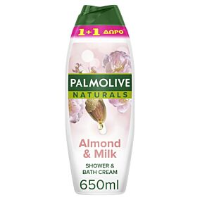 Αφρόλουτρο PALMOLIVE naturals almond and milk 1+1 ΔΩΡΟ (2x650ml)