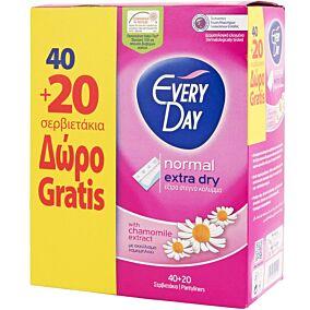 Σερβιετάκια EVERYDAY Extra Dry Normal με χαμομήλι (60τεμ.)