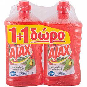 Καθαριστικό AJAX για το πάτωμα red αγριολούλουδο 1+1 ΔΩΡΟ, υγρό (1lt)