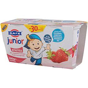 Γιαούρτι επιδόρπιο JUNIOR με γεύση φράουλα -0,30€ (2x140g)