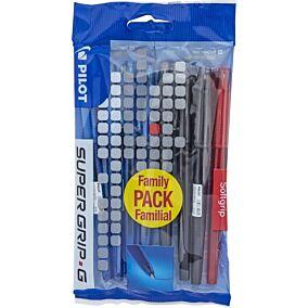 Στυλό διαρκείας PILOT super grip g 0.7 (4 μπλε - 3 μαύρα - 1 κόκκινο) (8τεμ.)
