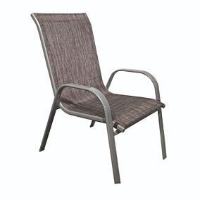 Πολυθρόνα MIMOSA GARDEN με μαύρο textilene και ασημί σκελετό