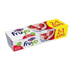 Γιαούρτι επιδόρπιο FRUYO φράουλα 2+1 ΔΩΡΟ (3x170g)